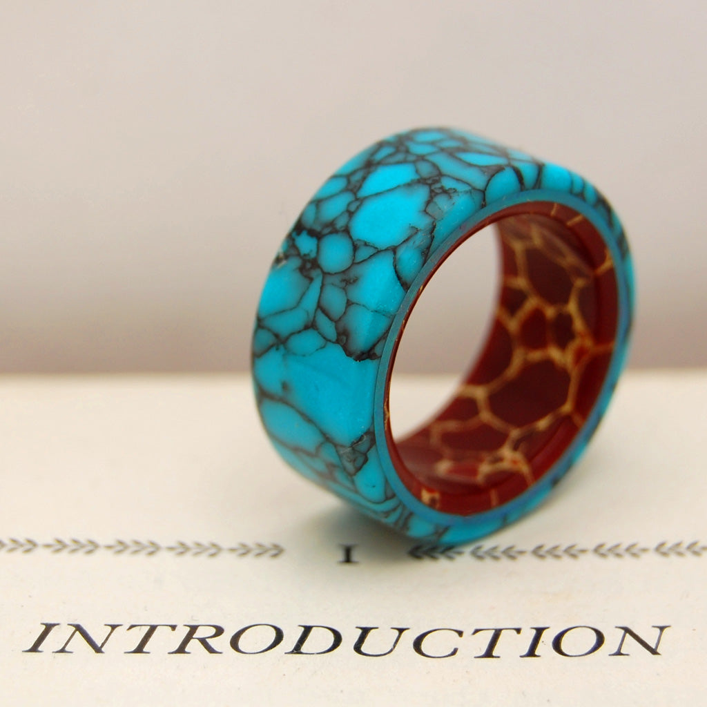 BOW TO THE KING | Turquoise & Red Jasper Stone Wedding Ring - Minter and Richter Designs