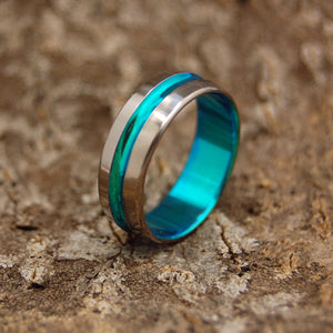 TURQUOISE SIGNATURE RING | Anodized Turquoise Titanium Ring - Unique Wedding Rings - Minter and Richter Designs