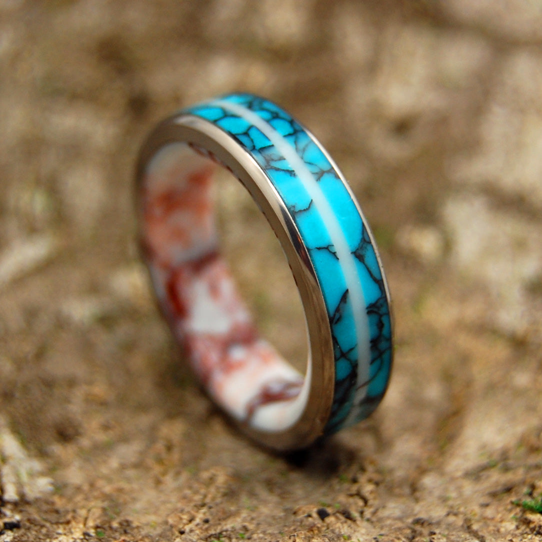 TURQUOISE STALLION | Turquoise & Wild Horse Jasper Stone Wedding Rings - Minter and Richter Designs