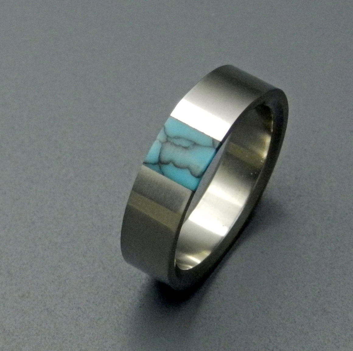 True North | Titanium Turquoise Wedding Rings - Minter and Richter Designs