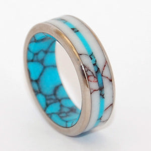 SPIRIT OF WEST | Turquoise & Wild Horse Jasper - Titanium Wedding Rings - Minter and Richter Designs