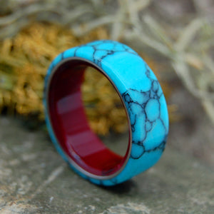 BLOOD RED BENEATH | Turquoise & Red Resin Wedding Ring - Minter and Richter Designs