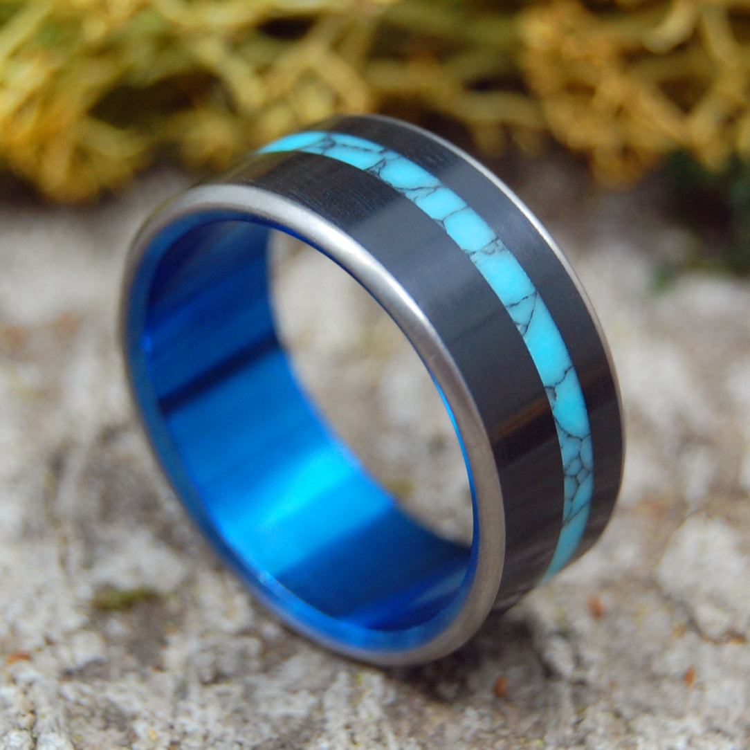 APOLLO BLUE | Onyx & Turquoise Stone Titanium Wedding Rings - Minter and Richter Designs
