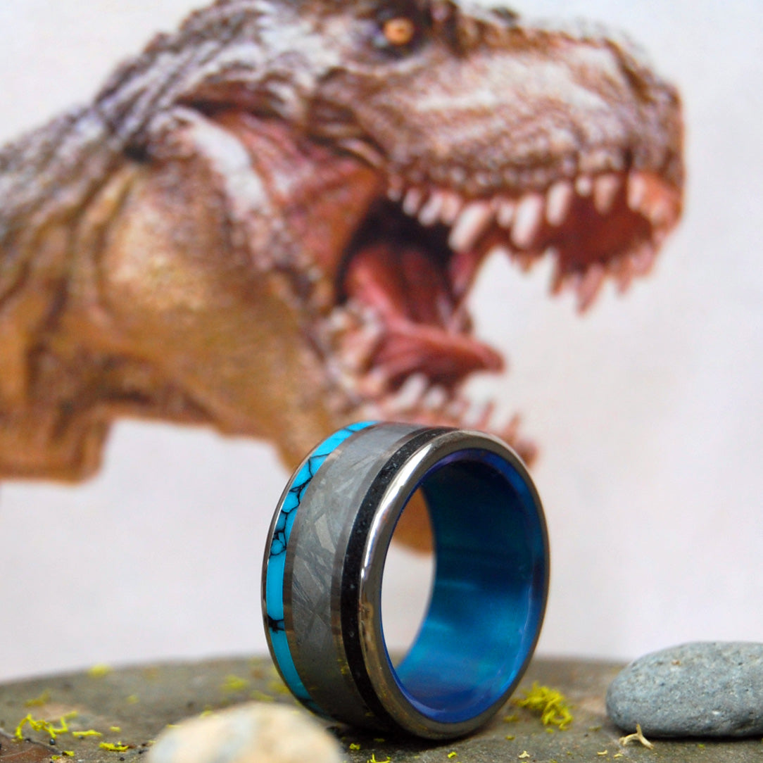 APEX PREDATOR  | Dinosaur Tooth & Meteorite Wedding Ring - Unique Wedding Rings - Minter and Richter Designs