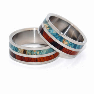 TWO KINGS UNITE | Blue Box Elder Wood & Cocobolo Wood - Titanium Matching Wedding Rings set - Minter and Richter Designs