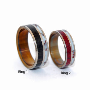 ANCIENT WILD HORSE | Purple Heart Wood & Titanium Wedding Rings - Minter and Richter Designs