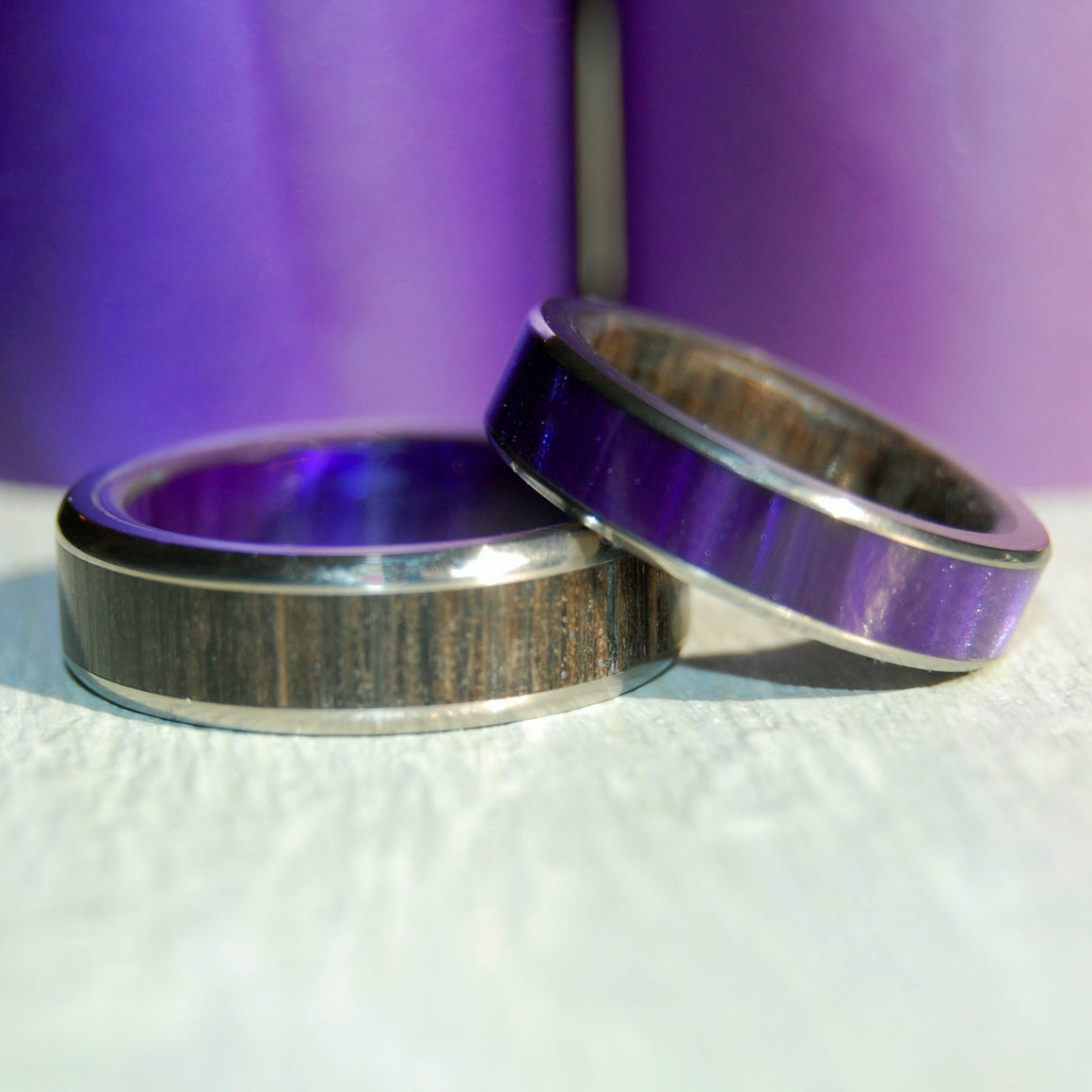 BORUTA & BEREGINIA | Ancient Bog Oak Wood & Purple Marbled Resin - Wooden & Titanium Wedding Rings - Minter and Richter Designs