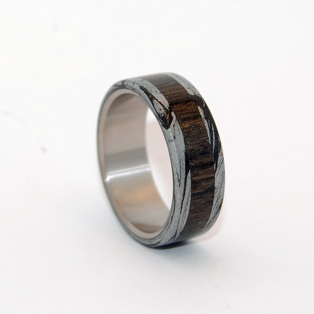 Men's Black Titanium Wedding Rings - Wood and Mokume Gane Wedding Rings | PERUN - GOD OF THUNDER