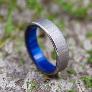 Blue Wedding Ring - Handcrafted Titanium Wedding Ring | PRINCESS WITH A LEFT JAB