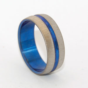 Blue Signature Ring Vertical Stroke | Hand Anodized Titanium Wedding Ring
