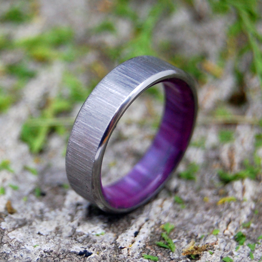 PRINCESS WITH A RIGHT HOOK | Purple Resin & Titanium Handmade Wedding Rings - Minter and Richter Designs