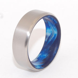 SWIRLING SEA | Vintage Blue Resin & Titanium - Unique Wedding Rings - Blue Rings - Minter and Richter Designs