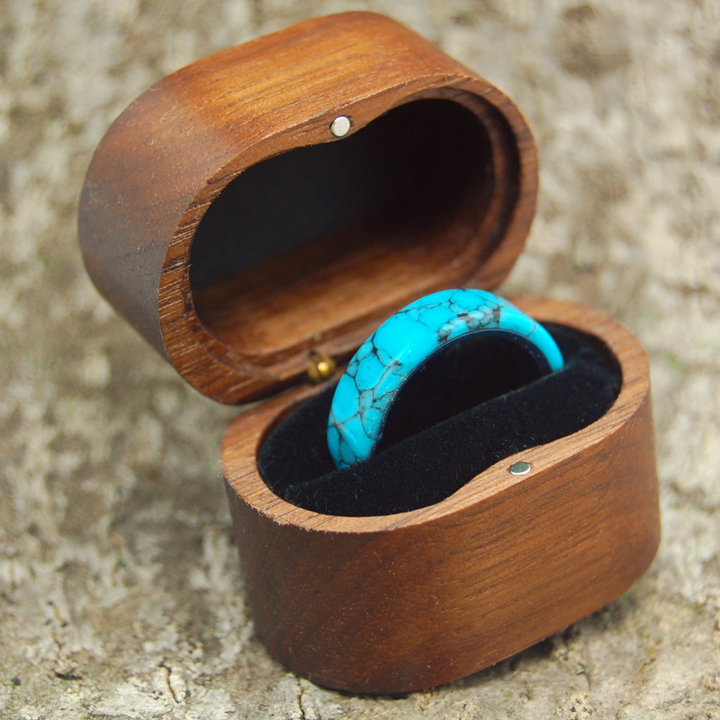 Wedding Ring Box - Black Walnut Vintage Style