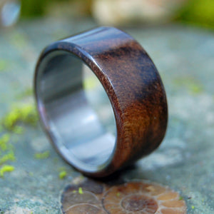 WALNUT OVERLAY | Wood & Titanium Wedding Band - Unique Wedding Rings - Minter and Richter Designs