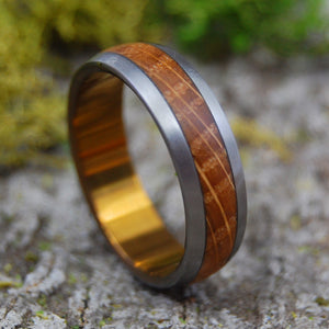 Mens Wedding Rings - Whiskey Barrel Ring - Custom Mens Rings - Wood Rings | GUNNY
