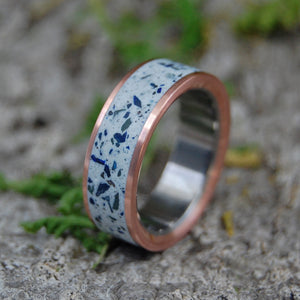 Beach Sand Wedding Ring - Concrete Azurite Titanium Ring | BEACH SAND AND AZURITE COPPER