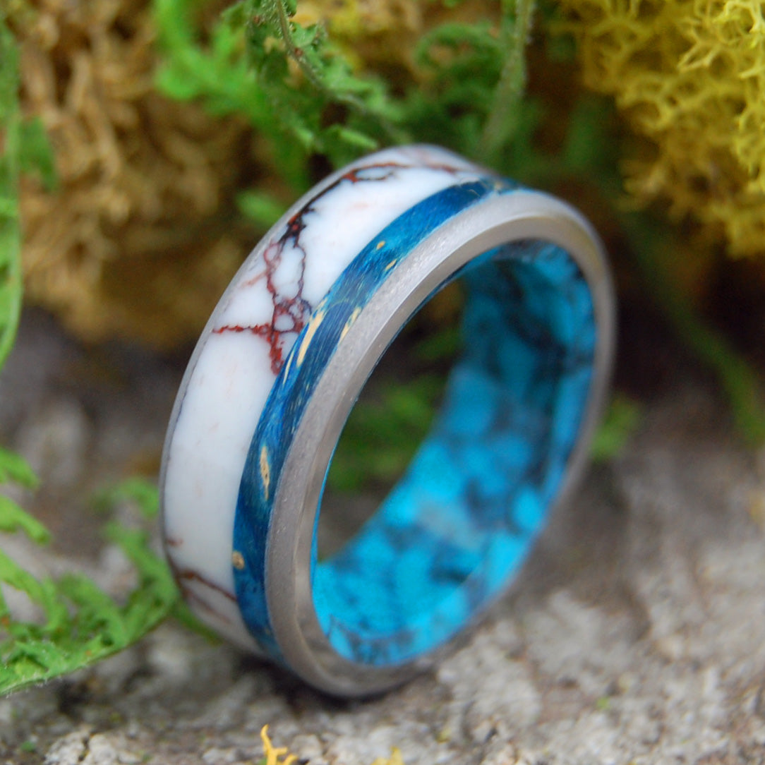 WILD BLUE HEART | Turquoise, Jasper Stone and Wood Wedding Band - Minter and Richter Designs