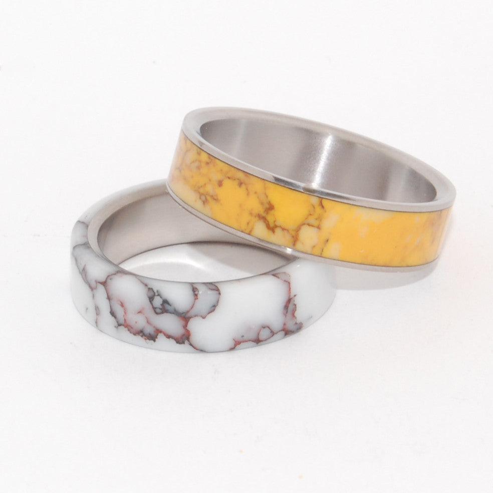 HORSE & HONEY | Wild Horse Jasper Stone & Honey Jasper Stone - Titanium Wedding Rings set - Minter and Richter Designs