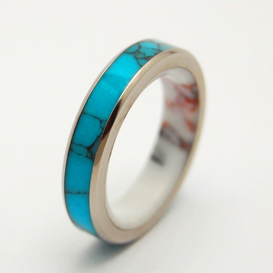 ONCE IN A BLUE MOON | Turquoise Stone, Jasper Stone & Titanium - Unique Wedding Rings - Women's Wedding Rings - Minter and Richter Designs