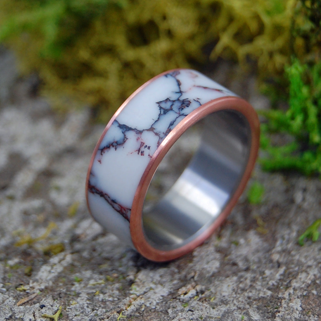 WILD HORSE COPPER | Jasper Stone & Copper Titanium Wedding Rings - Minter and Richter Designs
