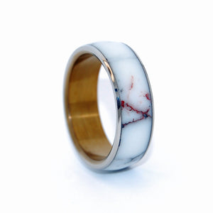 Stone Titanium Wedding Ring | EVERY DROP OF WILD HORSE JASPER - Minter and Richter Designs