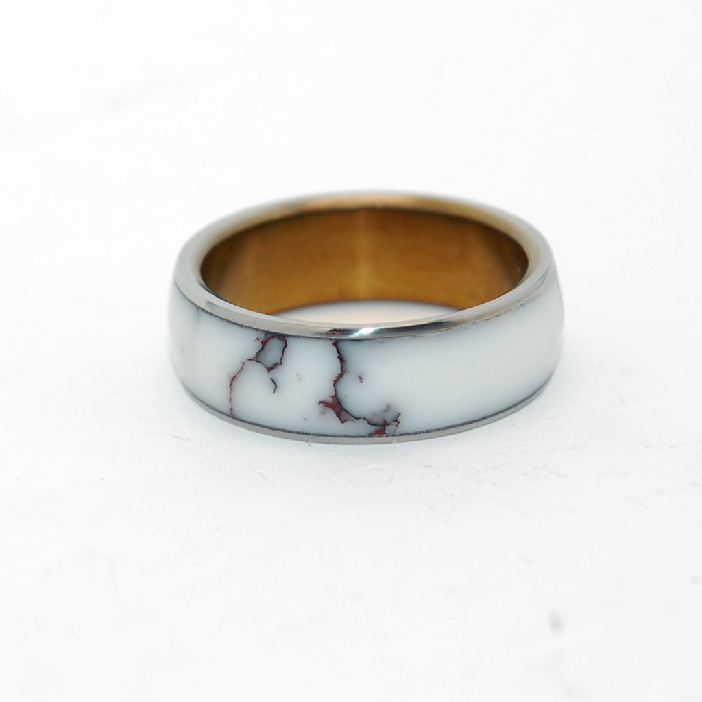 Stone Titanium Wedding Ring | EVERY DROP OF WILD HORSE JASPER