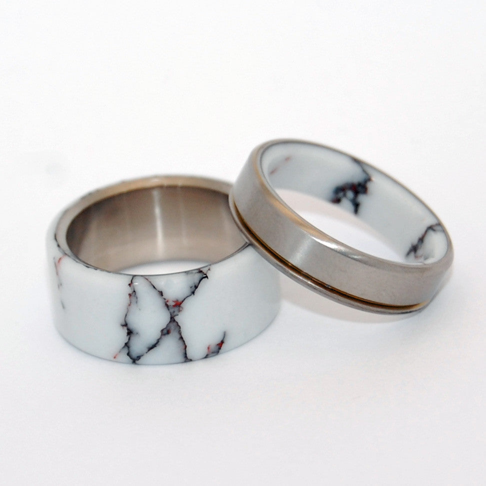 WILD HORSE RUNS FREE | Wild Horse Jasper Stone -Titanium Wedding Rings set - Minter and Richter Designs