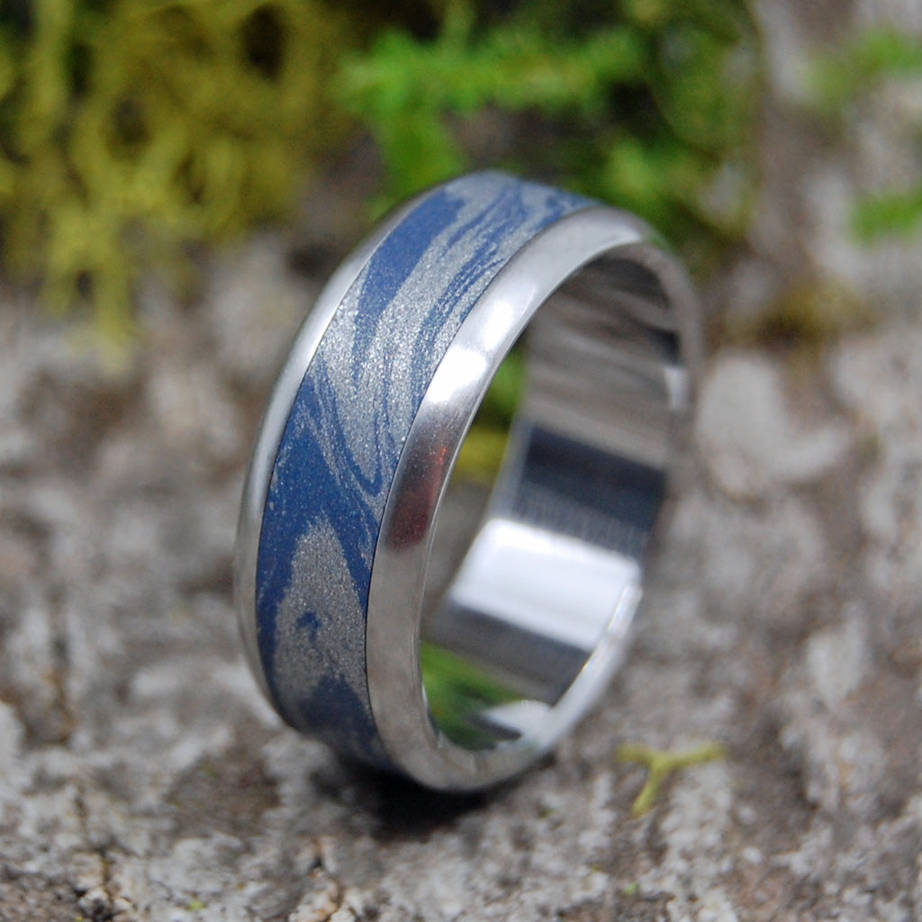Blue Wedding Ring - M3 and Titanium Wedding Ring | INOX BLUE KATANA