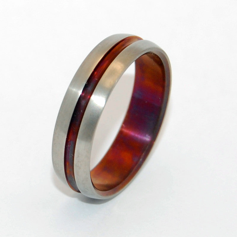 Burnished Bronze Wine Signature Ring | Hand Anodized Titanium Wedding Ring - Minter and Richter Designs
