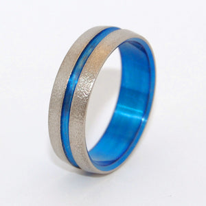 Wire Wheeled Blue Signature Ring | Hand Anodized Titanium Wedding Ring