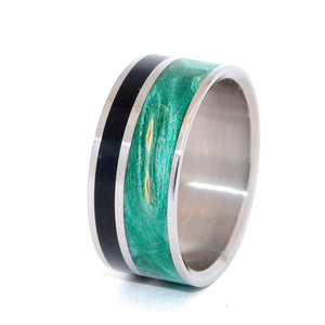 Wits That Do Agree | Horn and Wood Titanium Wedding Ring - Minter and Richter Designs