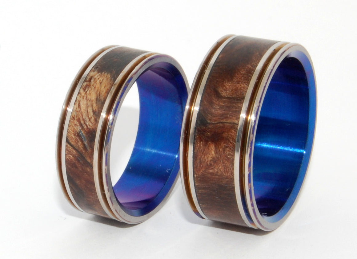 Miracles Happen Twice | Wood and Blue Anodized Titanium Wedding Ring Set