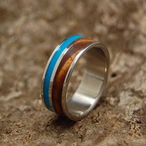 WOODED COVE | Hawaiian Koa Wood & Turquoise Resin Titanium Wedding Rings - Minter and Richter Designs