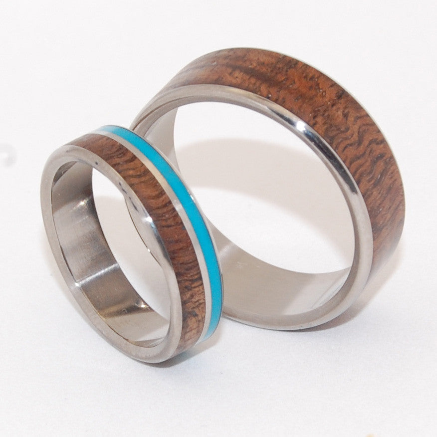 WOODED COVE HIDDEN FOREST | Turquoise Stone & Koa Wood & Titanium - Unique Wedding Rings - Wedding Ring Sets - Minter and Richter Designs