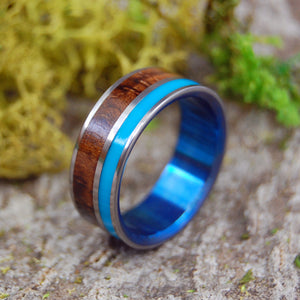 WOODED COVE BLUE | Turquoise Resin & Hawaiian Koa Wood Titanium Wedding Rings - Minter and Richter Designs