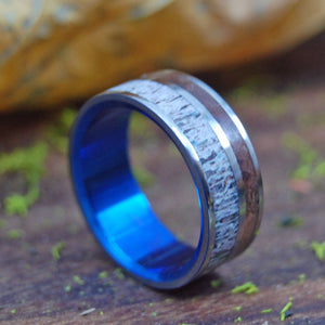 THE GREAT DIVIDE | Moose Antler & Sequoia Redwood Titanium Wedding Rings - Minter and Richter Designs