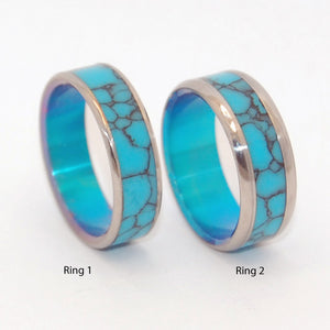 YOU & ME & TURQUOISE SEA | Turquoise Stone & Titanium - Wedding Ring Sets - Unique Wedding Rings - Minter and Richter Designs