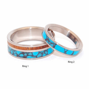 YOU CAN SEE ME | Turquoise Stone & Koa Wood - Turquoise Wedding Ring Set - Minter and Richter Designs