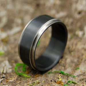 Men's Black Zirconium Ring - Handcrafted Zirconium Wedding Ring | ZIRCON FLIP