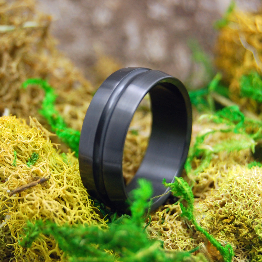 Black Zirconium Mens Ring | Handcrafted Zirconium Wedding Ring - PERSIAN ZARGUN
