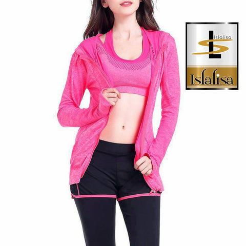 Islalisa Cool Hoodie Sport Zipper (Quick Dry Materials) Rose Pink