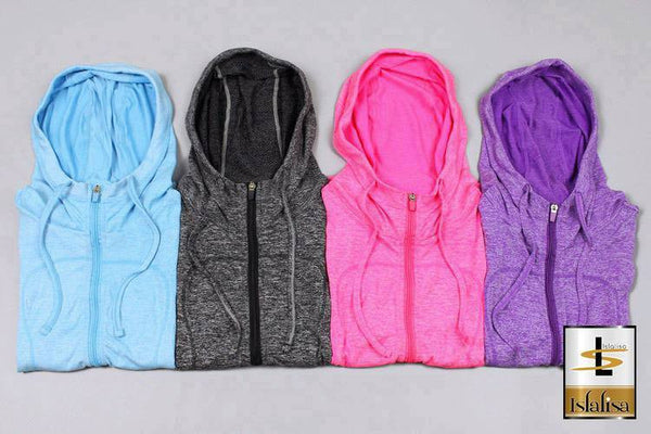 Islalisa Cool Hoodie Sport Zipper (Quick Dry Materials) Blue
