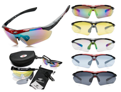 ROBESBON Polarized Sunglasses Anti Dazzle Sporty (Full Set 5 Colorful Lens)