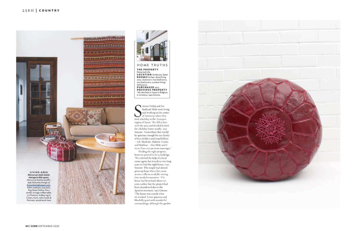 Moroccan Leather Pouffe, Deep Red