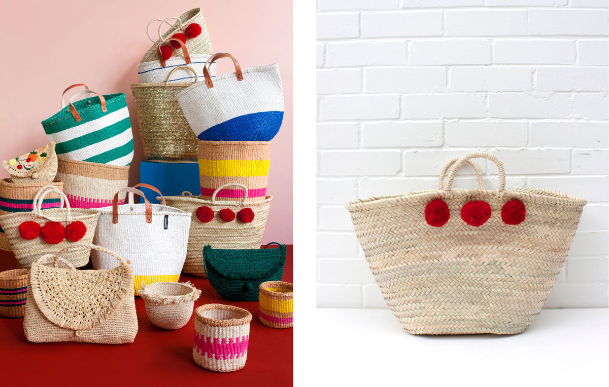 Red Market Pom Pom Baskets