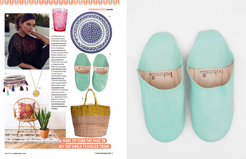 Duck Egg Blue Moroccan Babouche Slippers