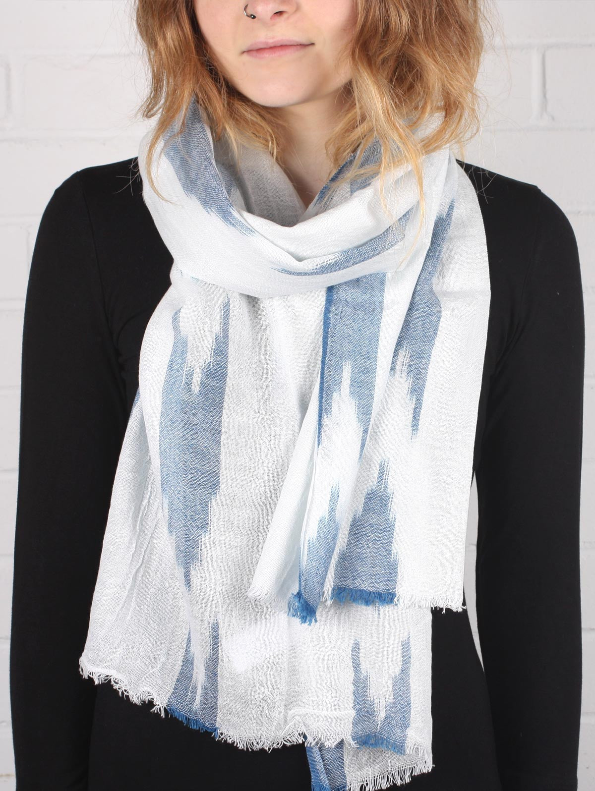 Arrow Ikat Scarves, Indigo
