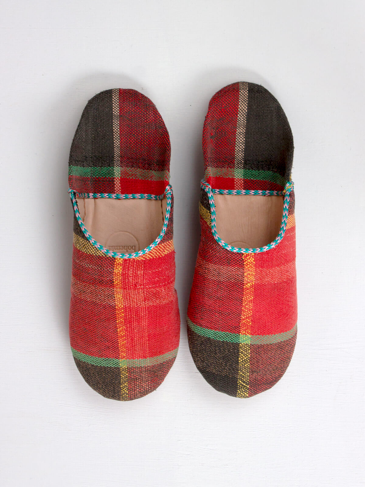 Slippers & Clogs Bohemia Design | Moroccan Boujad Basic Babouche Slippers, Coral Check