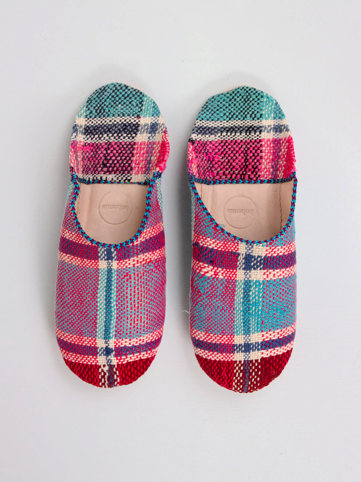 Slippers & Clogs Bohemia Design | Moroccan Boujad Fabric Basic Babouche Slippers, Essaouira Check