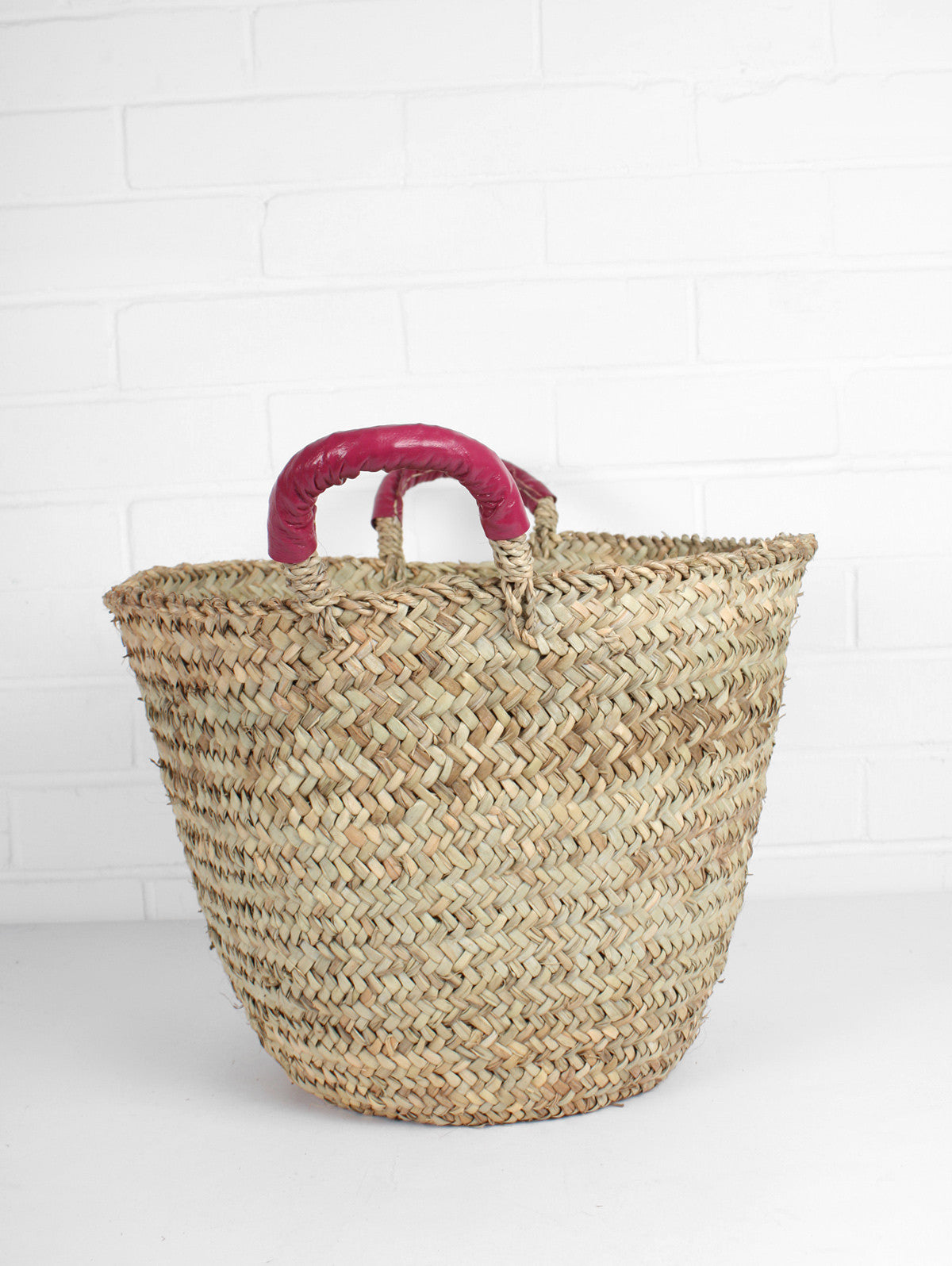 Beldi Leather Baskets, Fuchsia